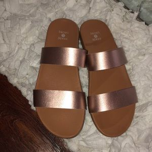 Brand new, rose gold sandals